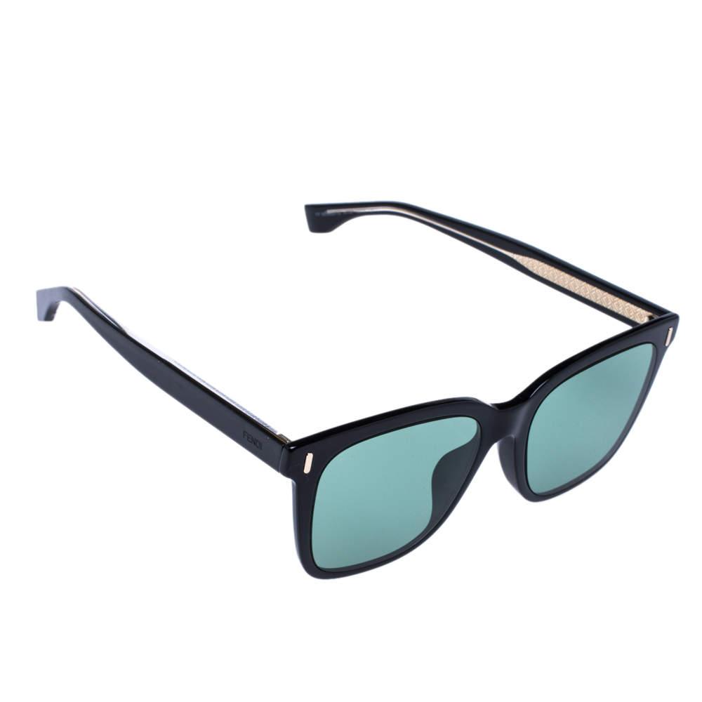 Fendi Black/ Green FF M0053 Square Sunglasses
