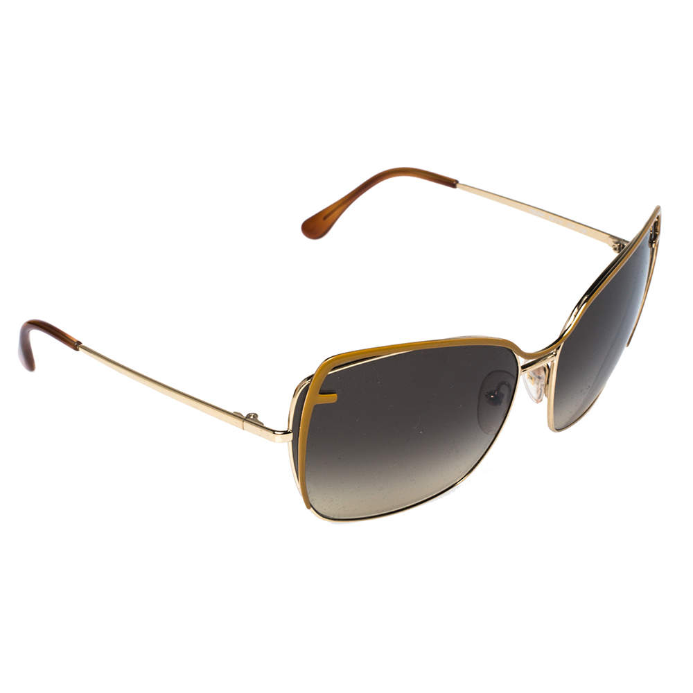 Fendi Gold Tone/ Brown Gradient FS5294 Oversized Sunglasses