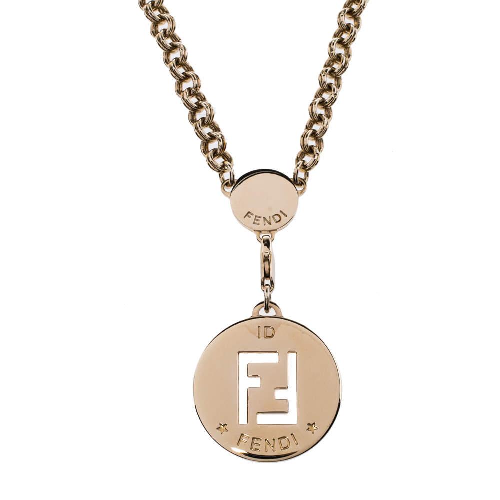 Fendi Collana Identification FF Gold Tone Pendant Necklace