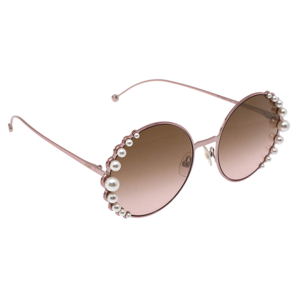 Fendi Pink & Pearl Embellished/ Bicolor Gradient FF0295S Round Sunglasses