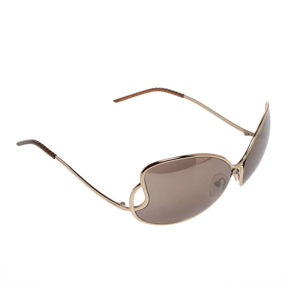 Fendi Pale Gold/Grey FS5178 Oversized Butterfly Sunglasses