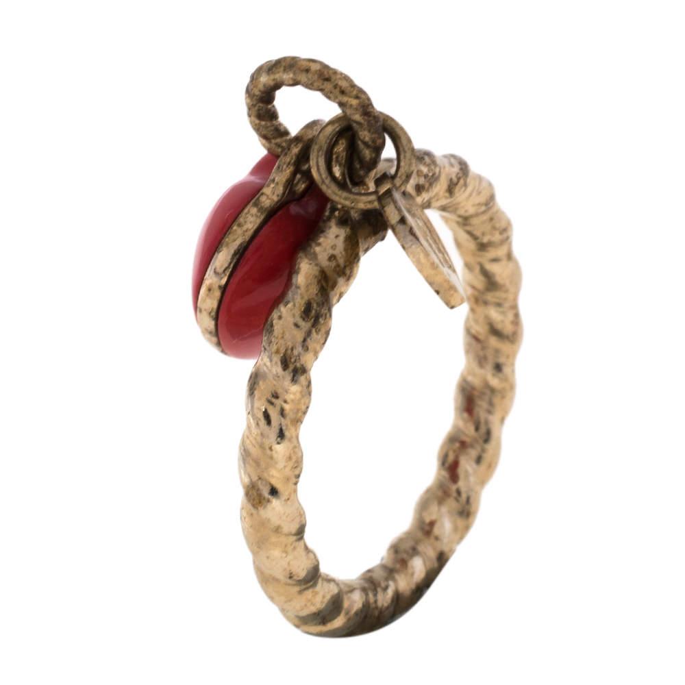 Fendi Red Enamel Heart Charm Gold Tone Ring Size EU 61
