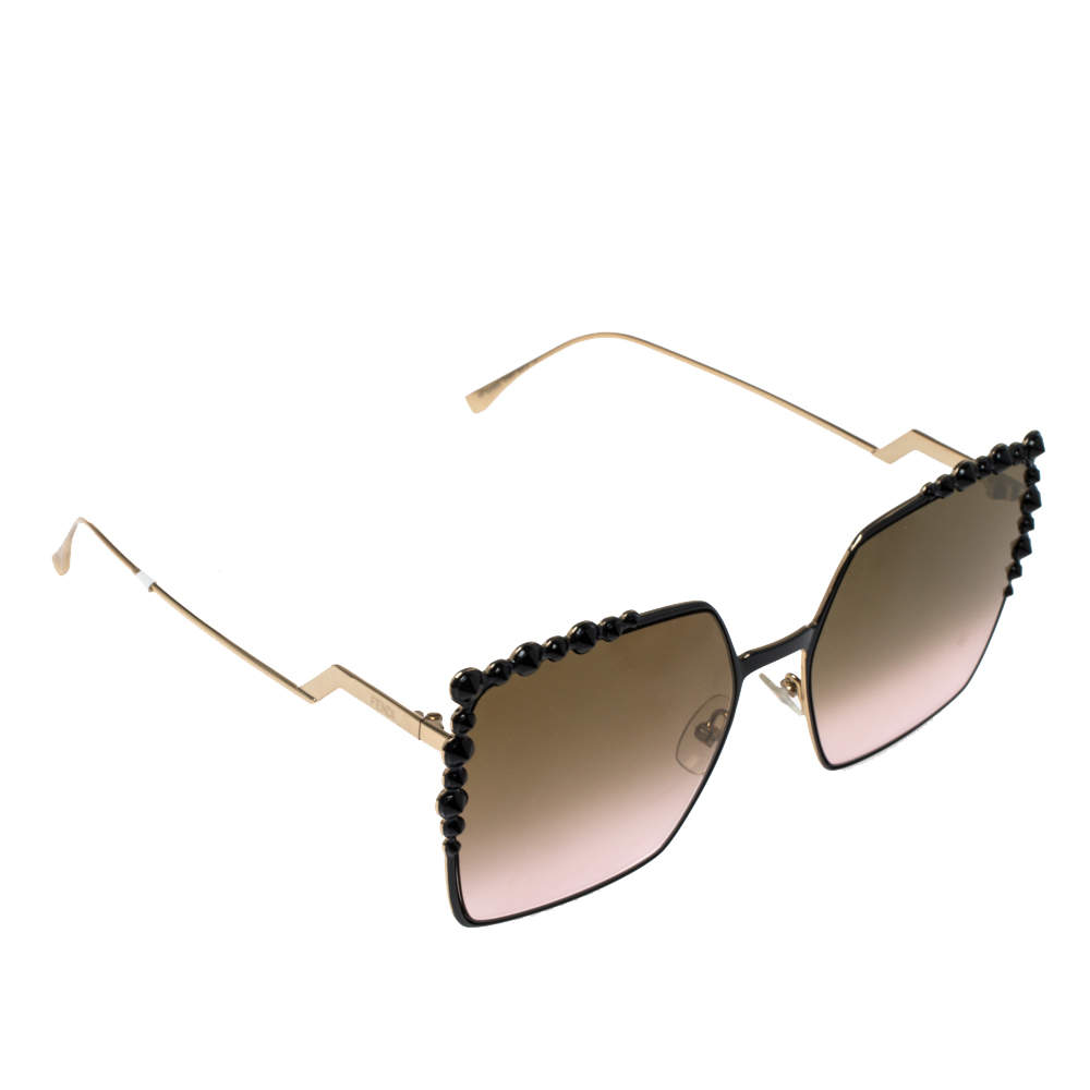 Fendi Black / Gold Mirrored FF0259/S Can Eye Oversized Sunglasses
