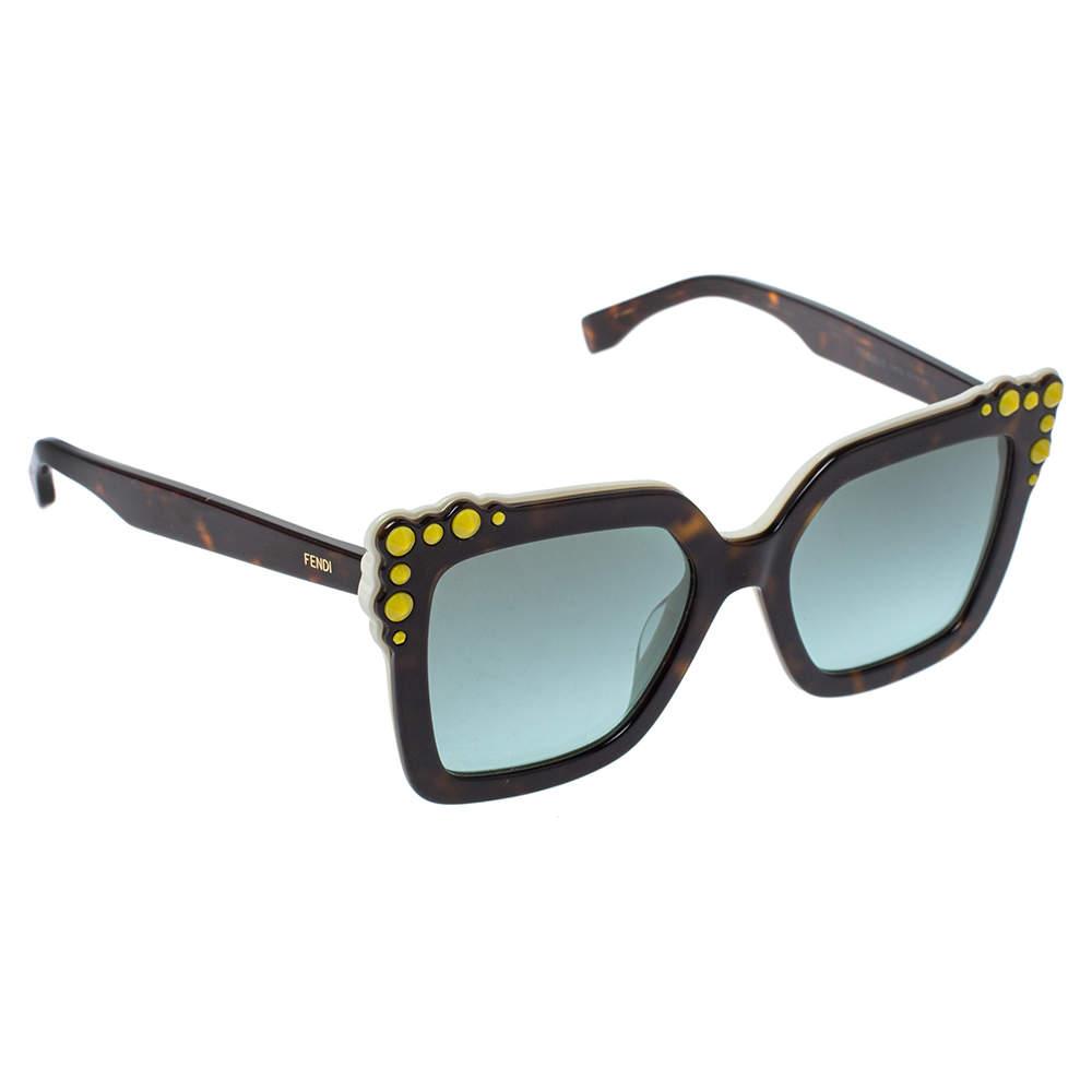 Fendi Brown Tortoise Acetate Studded Square Frame Sunglasses
