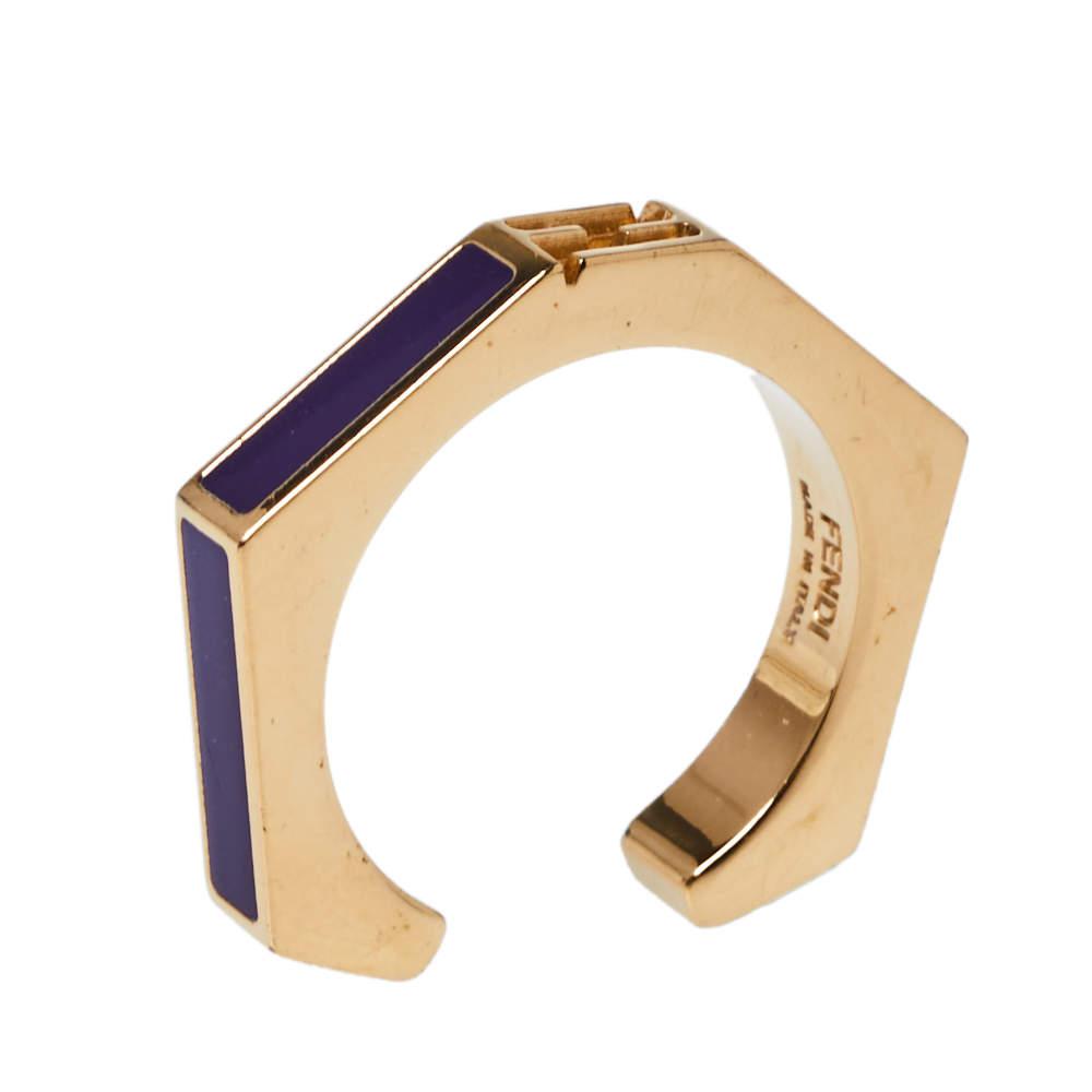 Fendi Purple Gold Tone Baguette Ring Size 56