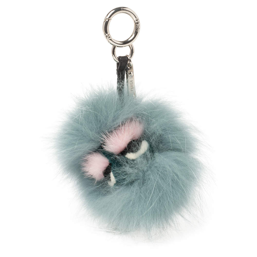 Fendi Blue Fox Fur Lagoon Bug Bag Charm