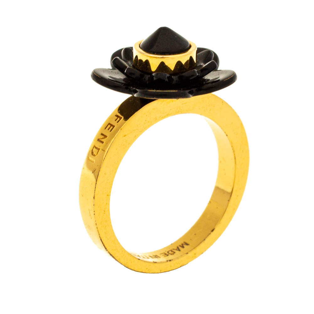 Fendi Gold Tone Black Flowerland Ring S