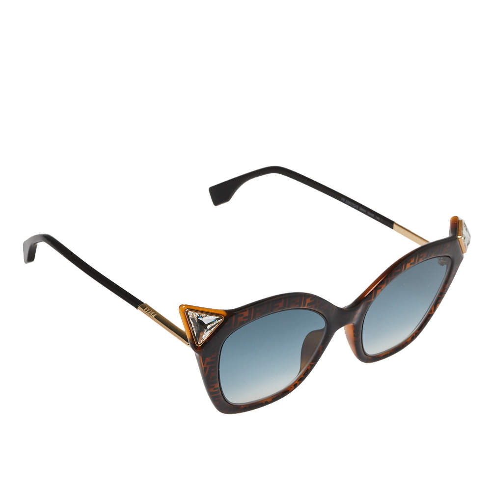 Fendi Dark Zucca Havana/ Blue Gradient FF0357/G/S Crystal Cateye Sunglasses