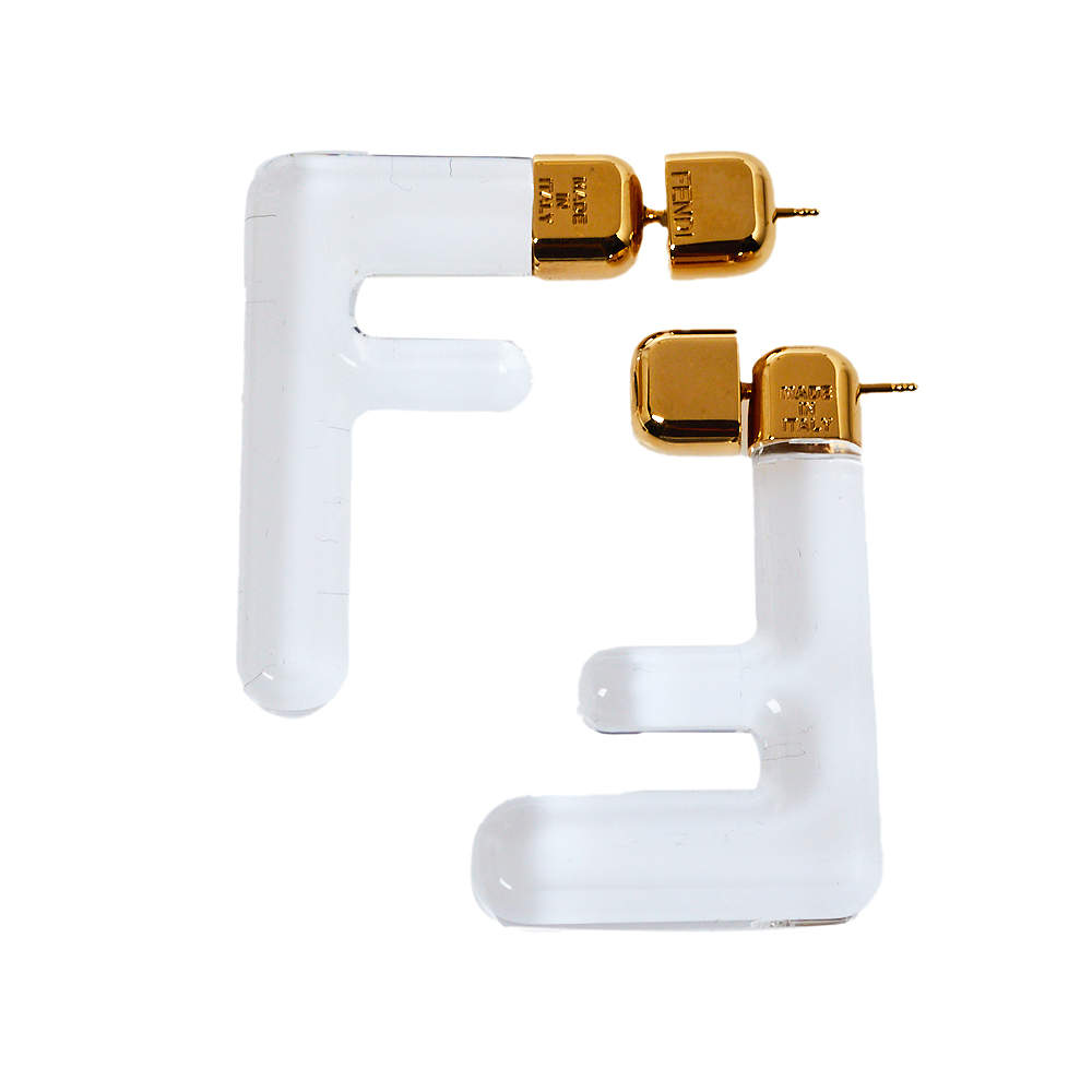 Fendi Transparent Plexiglass Gold Tone FF Earrings
