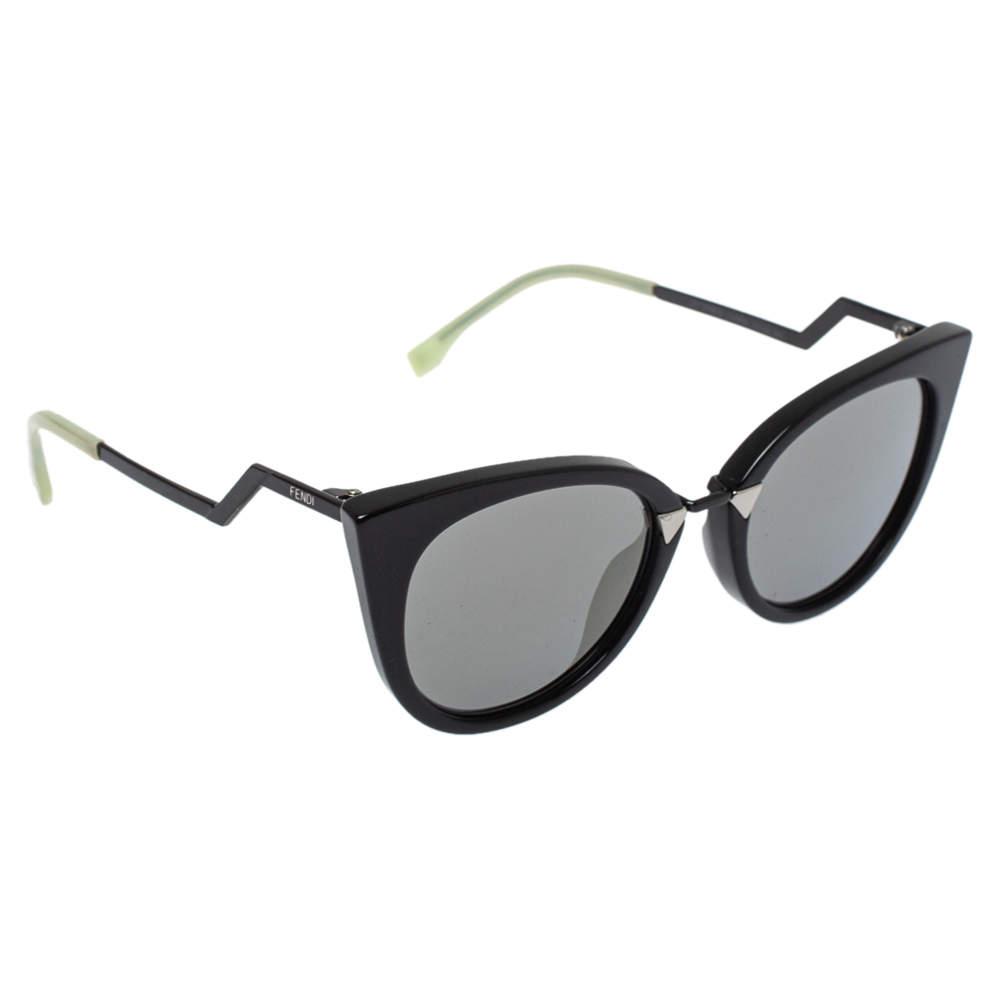 Fendi Black/ Silver Mirrored FF0118 Cat-Eye Sunglasses