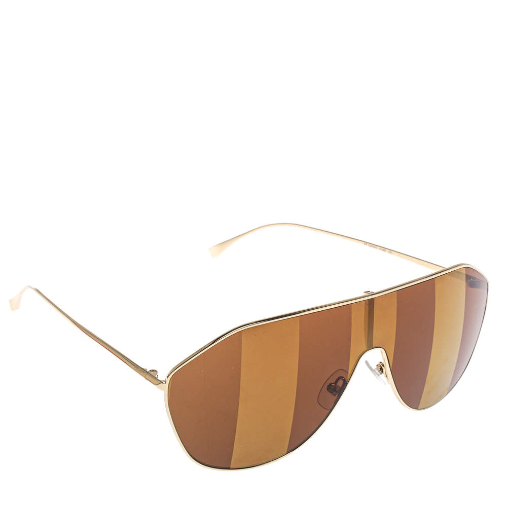 Fendi Brown/Gold Tone FF0405/S Striped Aviator Shield Sunglasses