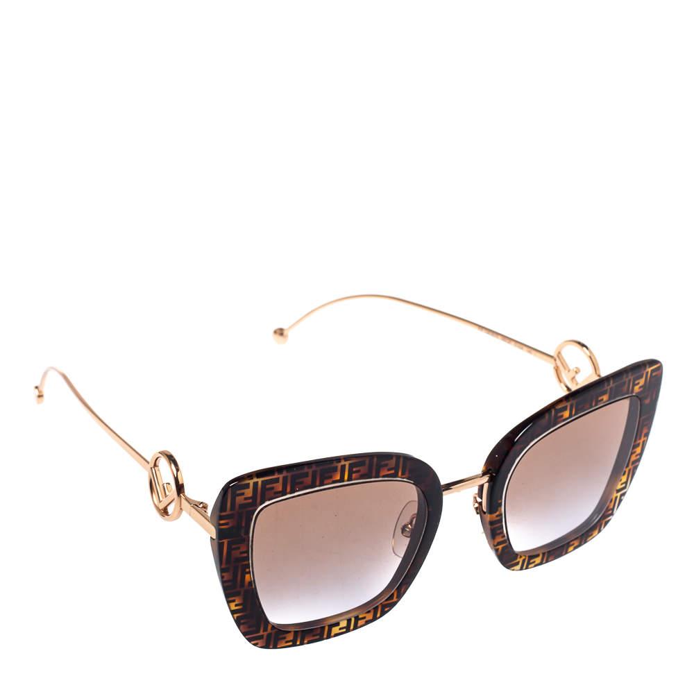 Fendi Brown Zucca/ Brown Gradient FF0408 Cat Eye Sunglasses