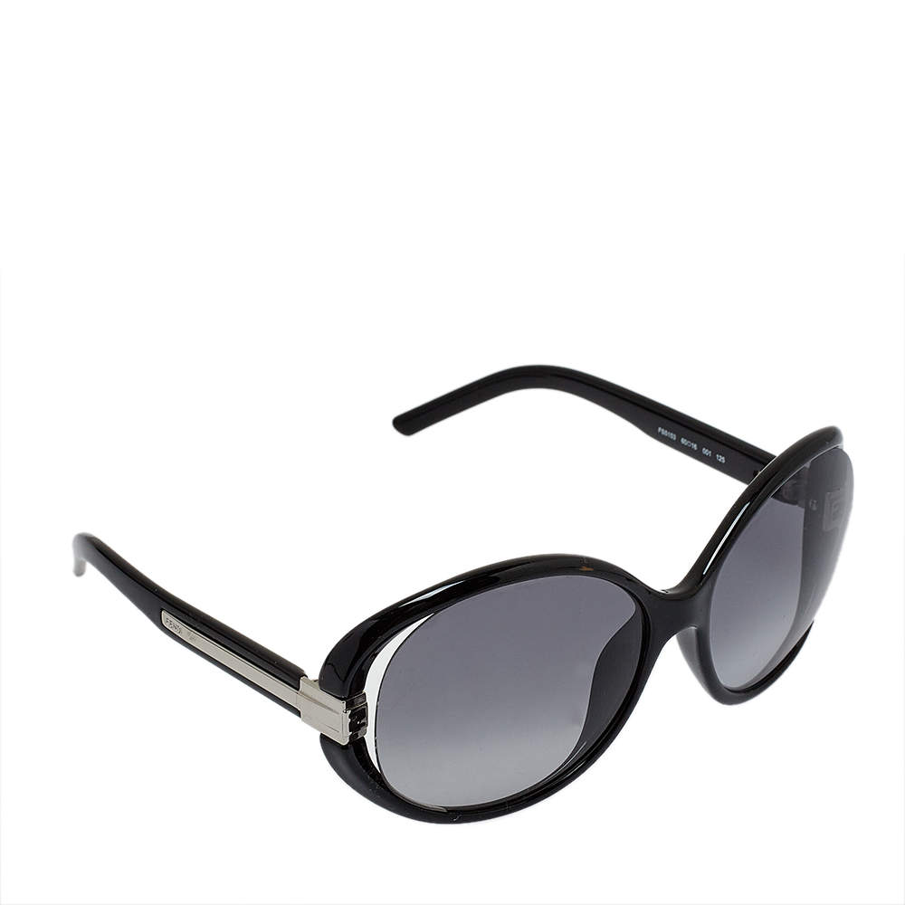 Fendi Black / Grey FS5153 Oversized Round Sunglasses