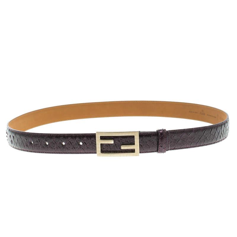 Fendi Purple Python Logo Buckle Belt 95 CM