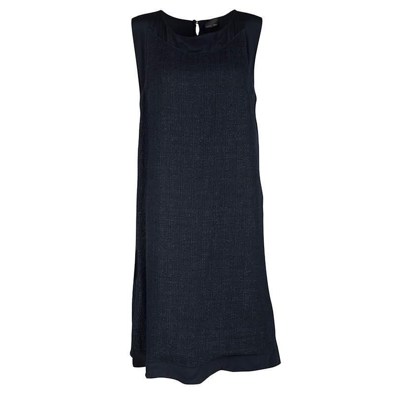 Fendi Navy Blue Silk Textured Panel Detail Sleeveless Shift Dress L