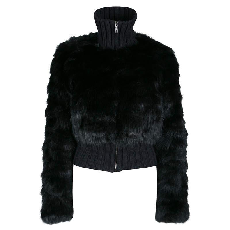 Fendi Black Cashmere and Fox Fur Zip Front Bomber Jacket S
