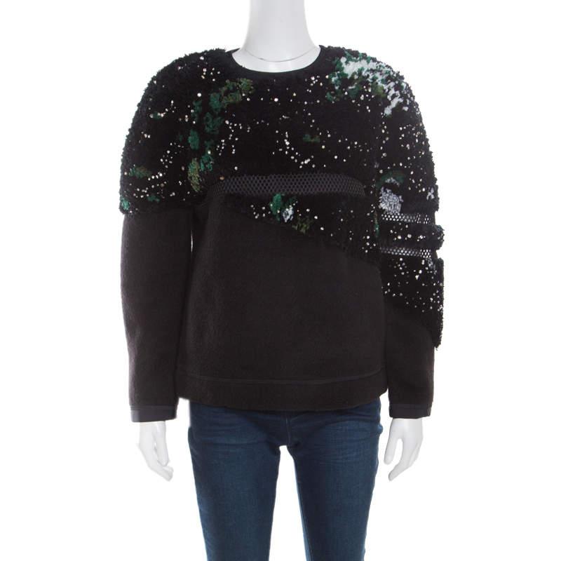 Fendi Black Fleece Wool and Alpaca Blend Crystal Embellished Long Sleeve Jumper S
