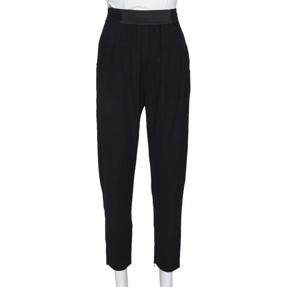 Fendi Black Crepe Gathered Detail Tapered Trousers S