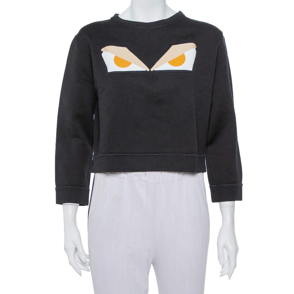 Fendi Black Cotton Monster Eye Print Cropped Sweatshirt S
