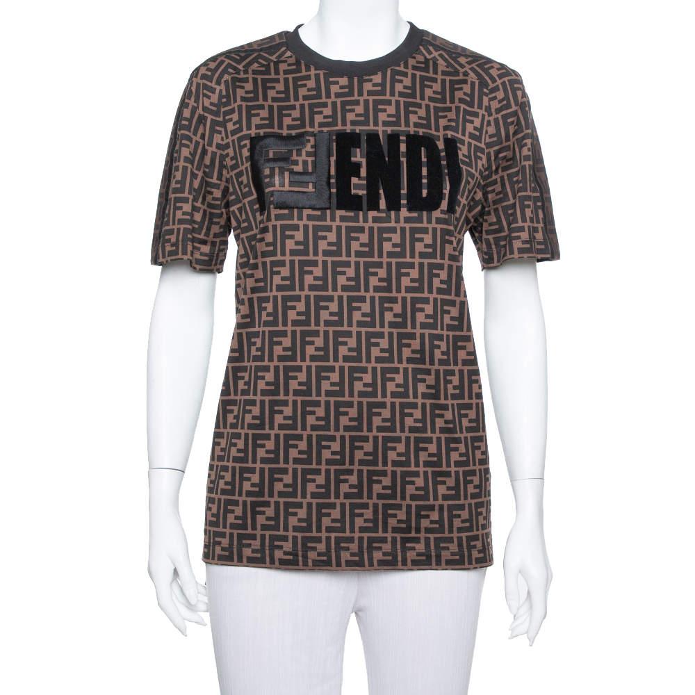Fendi Brown Logo Printed Cotton Embroidered Crewneck T Shirt S