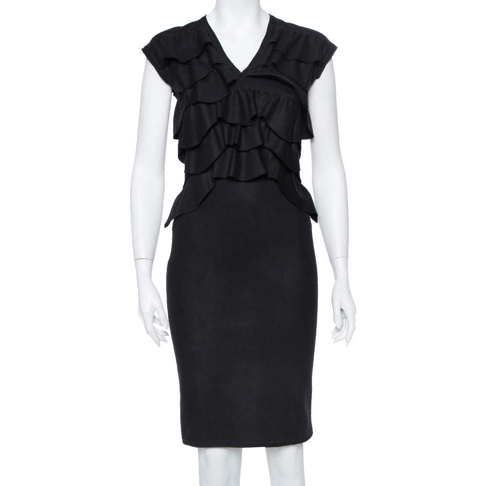 Fendi Black Wool Ruffle Detail Sheath Dress S