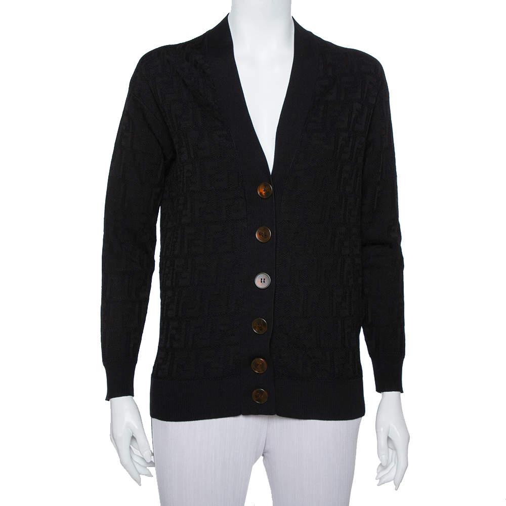 Fendi Black Logo Intasia Knit Button Front V-Neck Cardigan XS