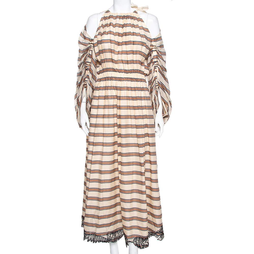 Fendi Beige Striped Cotton & Silk Cut Out Sleeve Detail Maxi Dress M