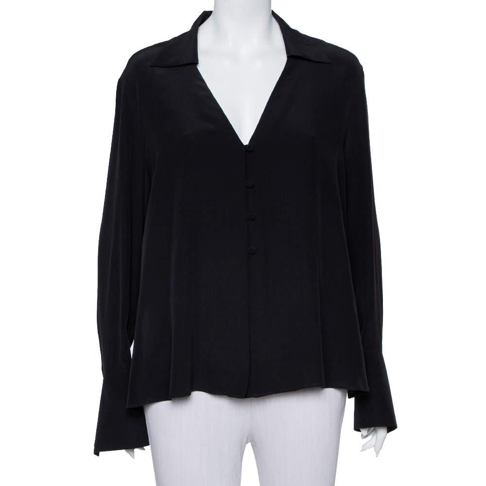 قميص فندي حرير رقبة حرف في أسود بياقة بأزرار أمامية مقاس كبير - لارج
