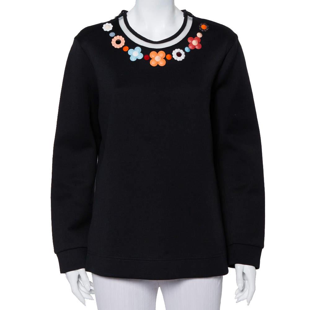 Fendi Black Knit Floral Neck Embellished Round Neck Top XL
