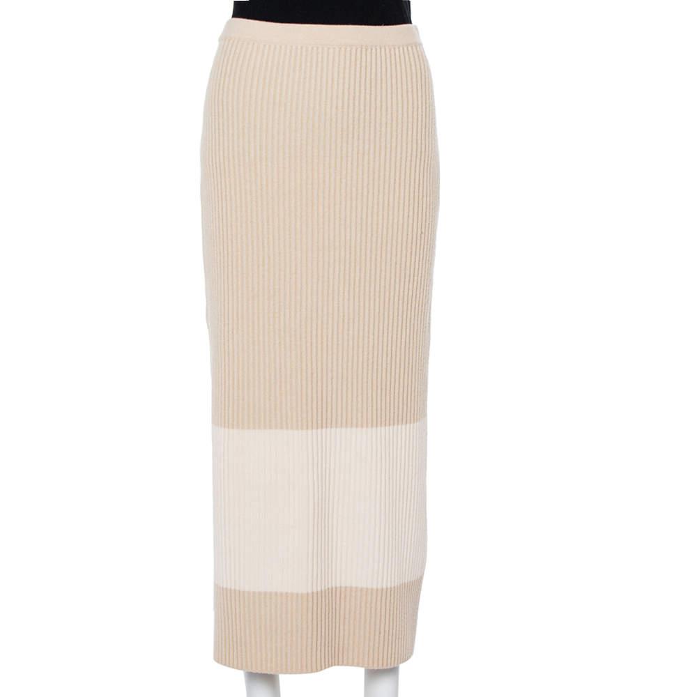 Fendi Two Tone Cashmere Midi Skirt M