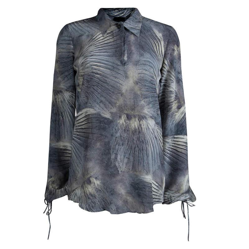 Fendi Multicolored Silk Printed Long Sleeve Top M