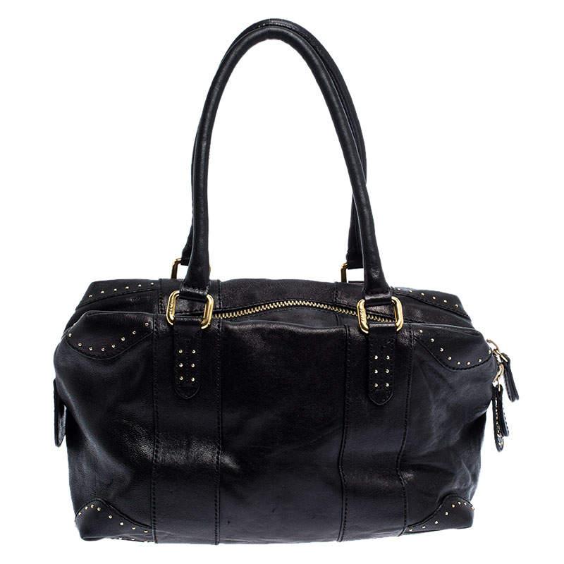 Fendi Black Leather Studded Satchel