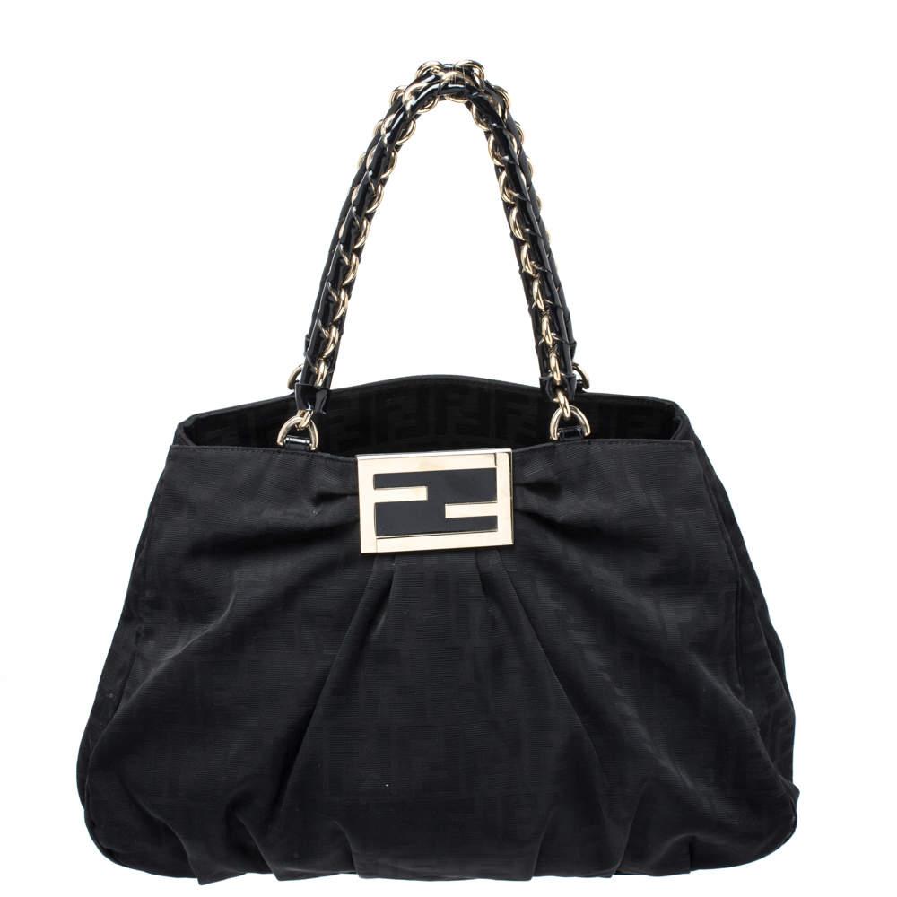 Fendi Black Zucca Canvas Large Mia Shoulder Bag