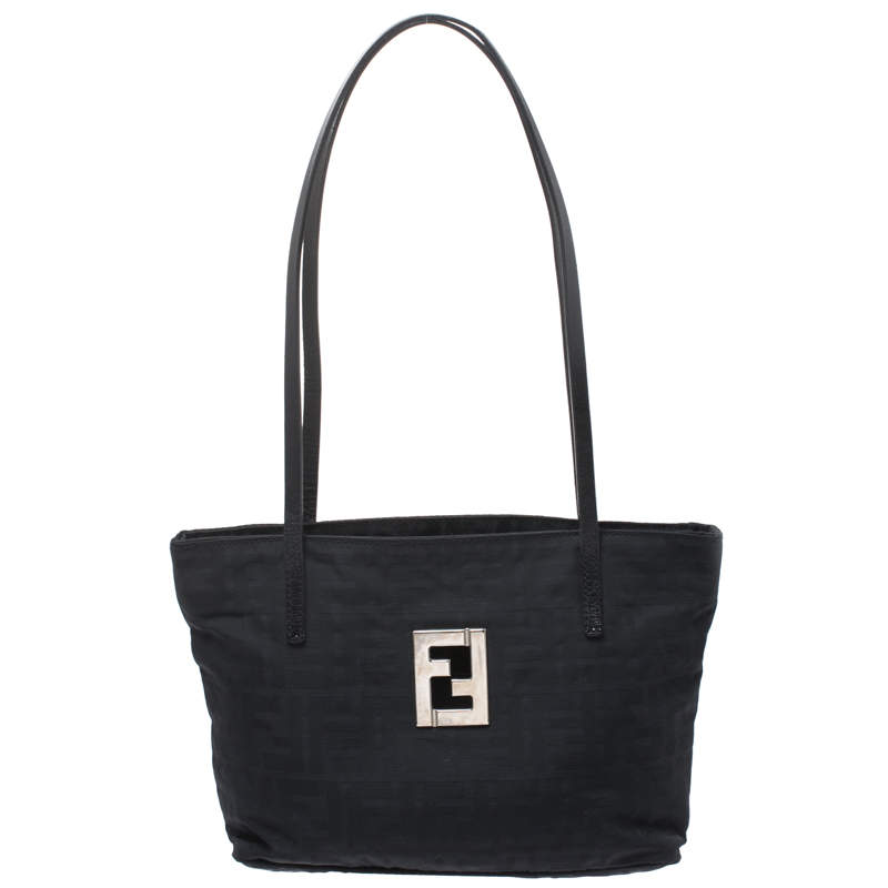 Fendi Black Canvas and Leather Zucca Tote