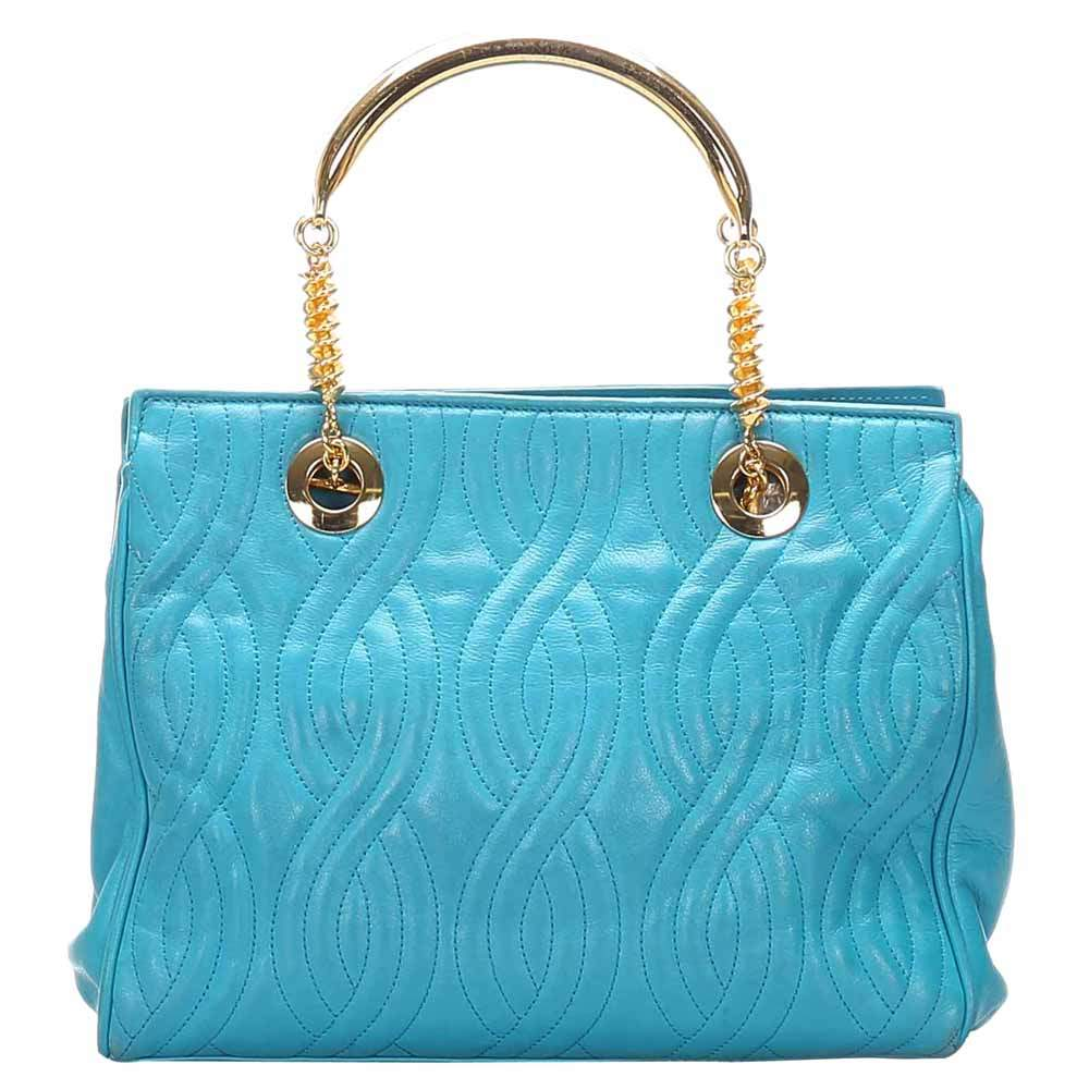 Fendi Blue Quilted Leather Tote