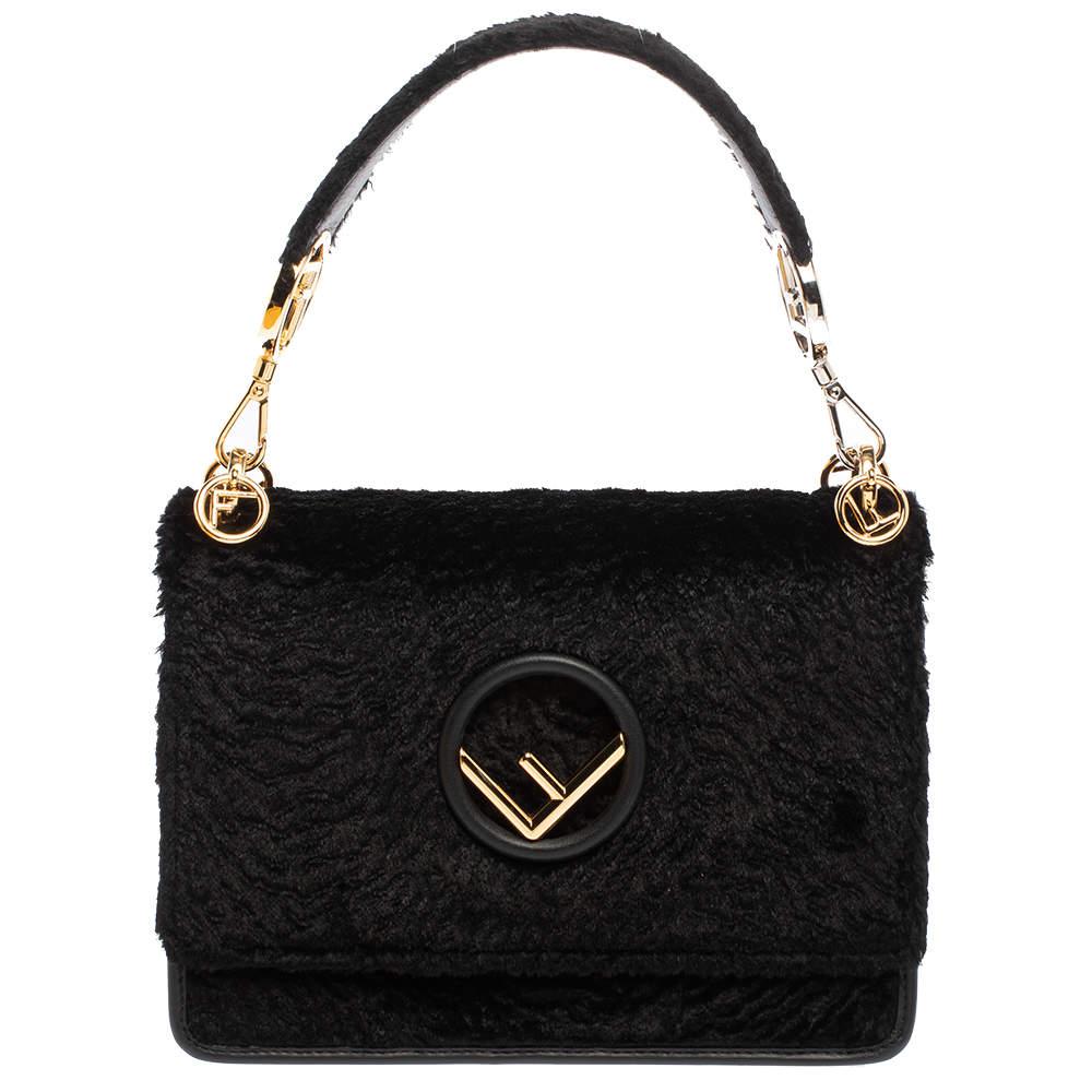 Fendi Black Velvet Kan I F Top Handle Bag