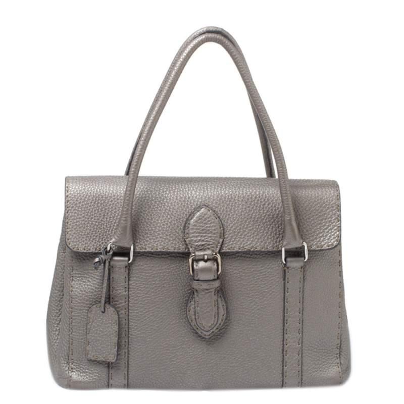 حقيبة فندي ليندا جلد سيليريا رصاصي