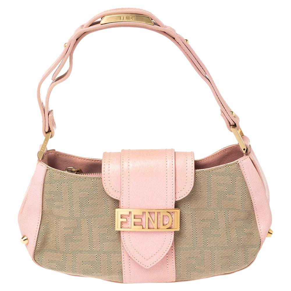 Fendi Pink/Beige Zucca Canvas and Leather Logo Flap Baguette Bag