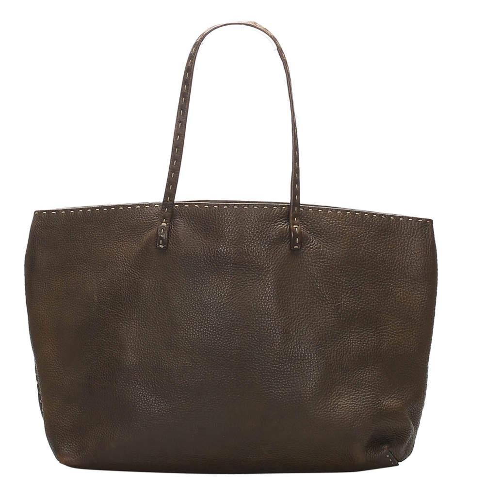 Fendi Brown Leather Selleria Tote Bag