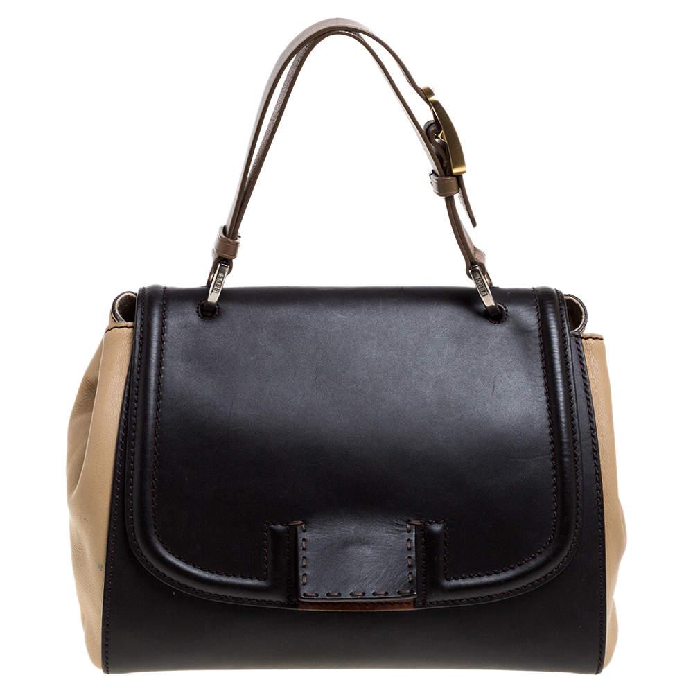 Fendi Tri Color Leather Silvana Top Handle Bag