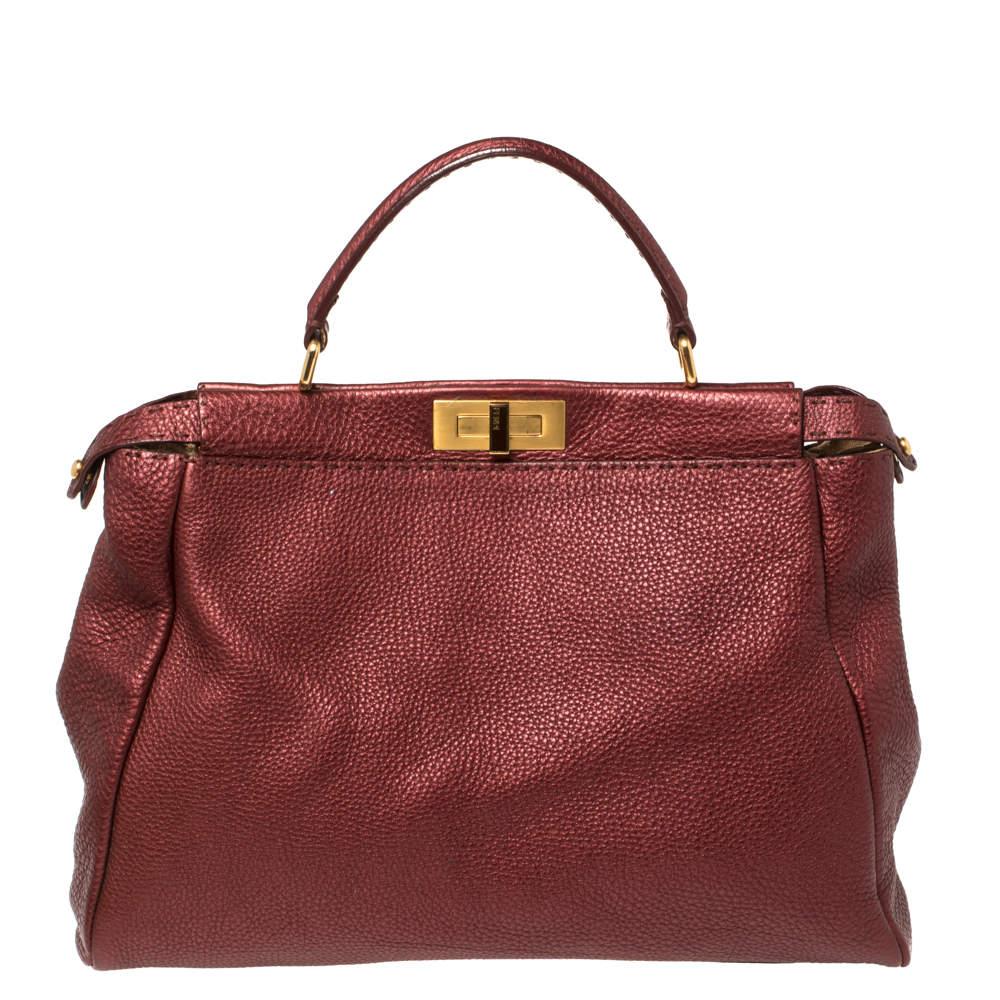 Fendi Burgundy Selleria Leather Large Peekaboo Top Handle Bag