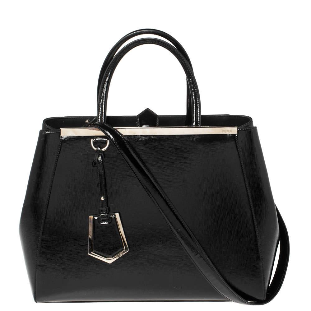 Fendi Black Patent Leather Medium 2jours Tote