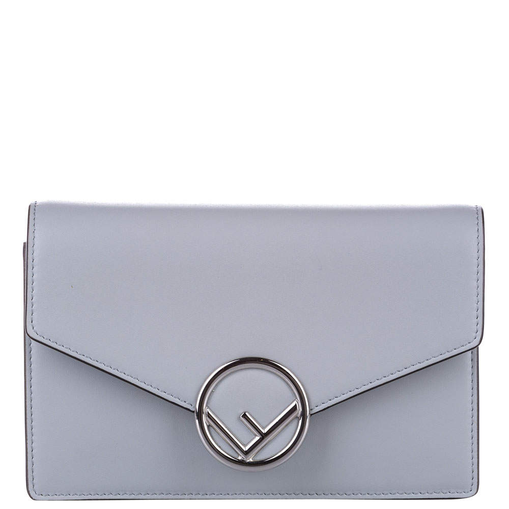 Fendi Blue Leather F Wallet On Chain Bag