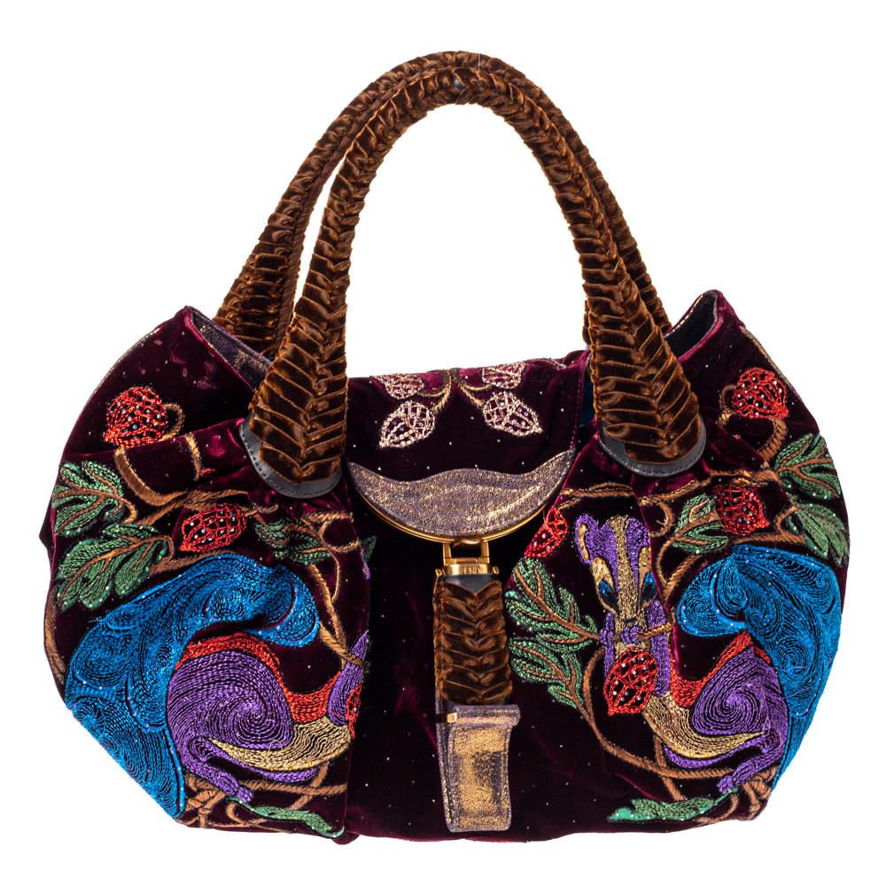 Fendi Multicolor Embroidered Squirrel Velvet Spy Bag