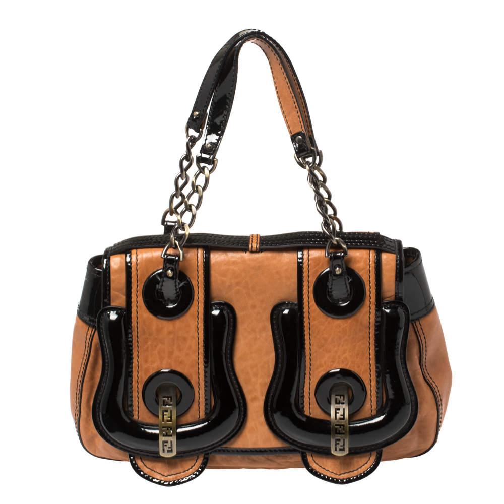 Fendi Black/Brown Patent Leather and Leather B Shoulder Bag