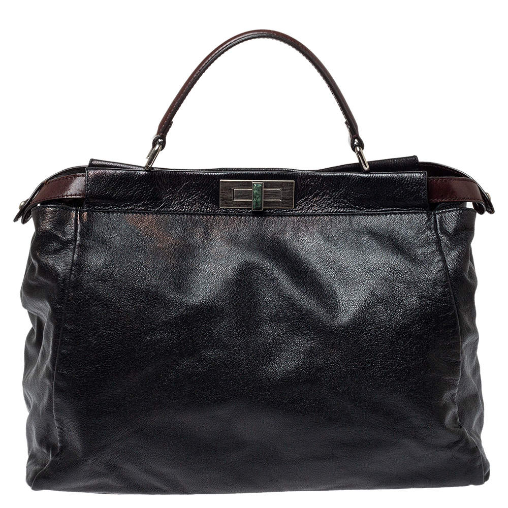 Fendi Black Leather With Suede And Beaded Lining Large Peekaboo Top Handle Bag