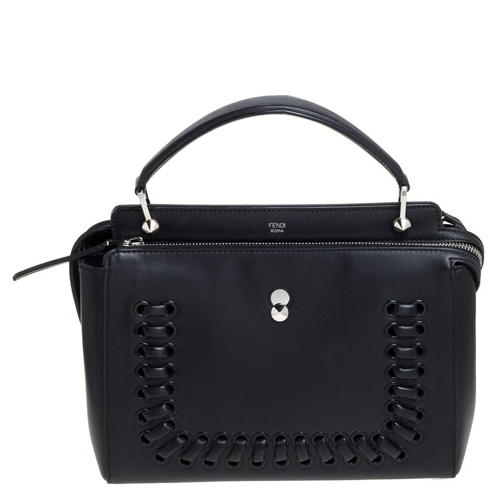 Fendi Black Leather Whipstitch Dotcom Top Handle Bag