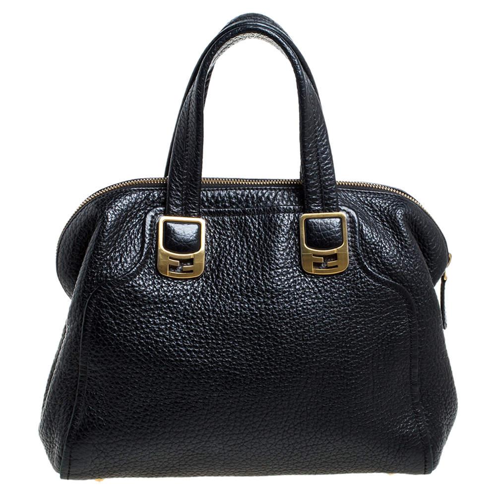 Fendi Black Pebbled Leather Chameleon Satchel