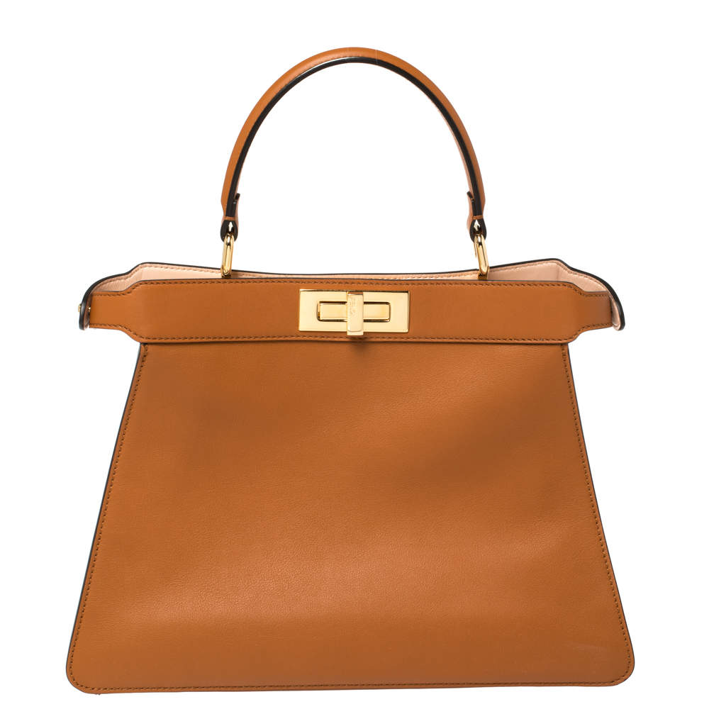 Fendi Brown Leather Medium Peekaboo ISeeU Top Handle Bag