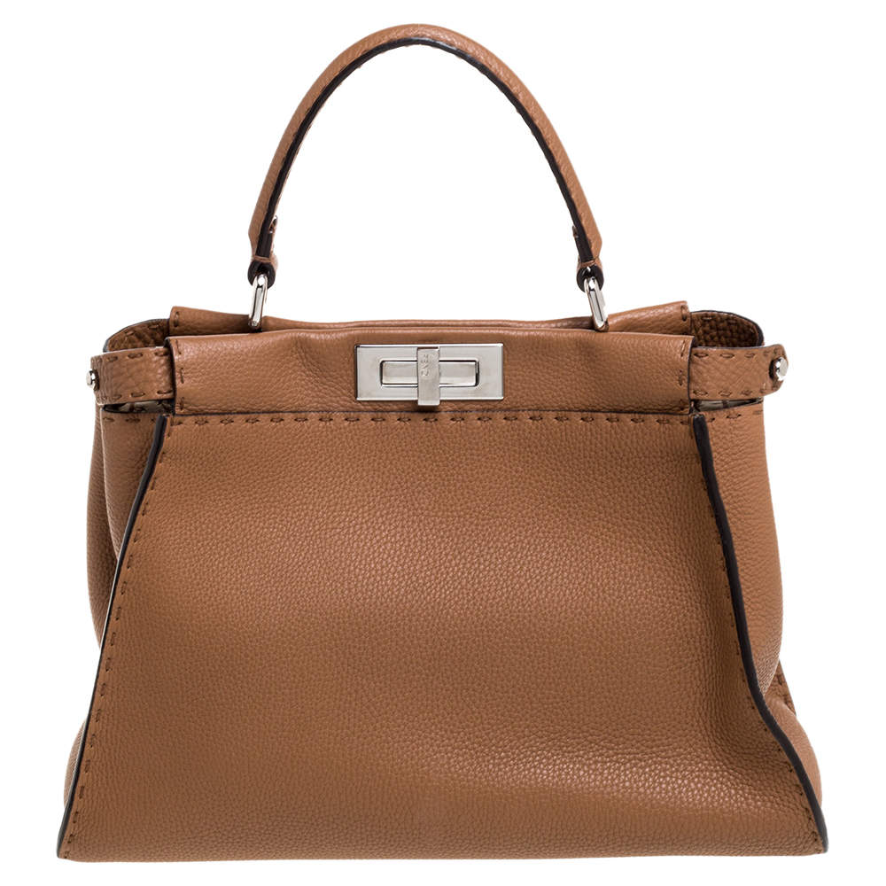 Fendi Brown Selleria Leather Medium Peekaboo Top Handle Bag